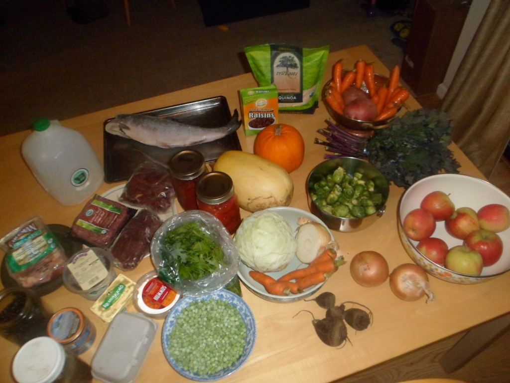 One week's worth of groceries for a Naturopathic Doctor's family of three.